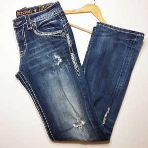 Rock Revival Indus Bootcut distressed jeans 33